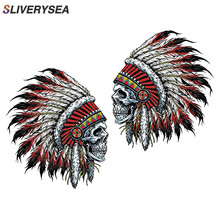 SLIVERYSEA 10CM*10CM Car Styling Indian Chief Skull Stickers Funny Vinyl JDM and Decals