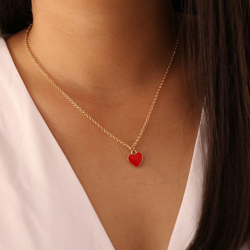 Простое красное, розовое, синее ожерелье с подвеской в форме сердца, модная женская свадебная цепочка до ключиц, ювелирные изделия, романтич...