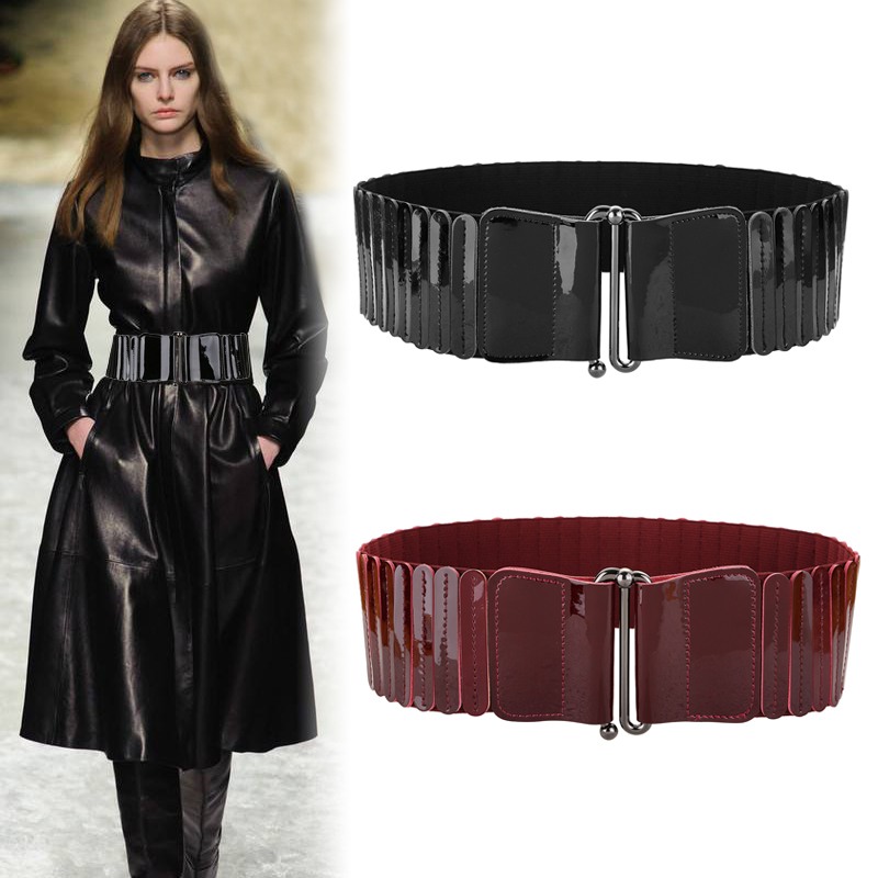 New Vintage Black Buckle Wide Waistbands Elastic Cummerbund Punk Cowskin Genuine Leather Waist Belts For Women Girdle Dress Coat