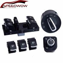 Speedwow mestre interruptor de controle da janela espelho farol nevoeiro lâmpada botão conjunto para v w j etta 6 golf gti 5 6 tiguan passat b6 cc