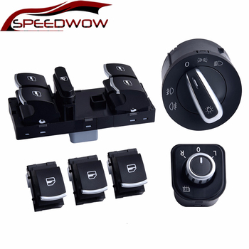SPEEDWOW Master Window Control Switch Mirror Headlight Fog Lamp Button Set For V W J Etta 6 Golf GTI 5 6 Tiguan Passat B6 CC 4x 0280158026 06a906031bs 852 12220 fj670 fuel injector for volkswagen beetle golf golf city j etta j etta city 2 0l l4