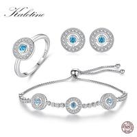 KALETINE Evil Eye Hamsa Bracelet Earrings Ring Sets 925 Sterling Silver Jewelry Sets For Women Round Blue Zircon Tennis Bracelet