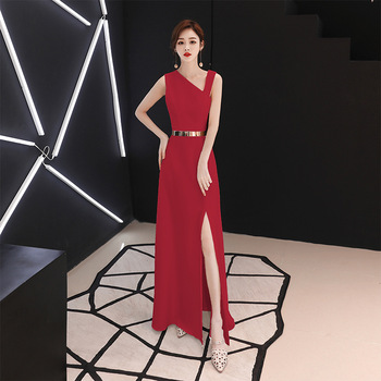 Noble Red Chinese Dresses Atmosphere Belt Cheongsam Elegant Bridal Party Dress Women 2020 New Qipao Vestidos De Festa