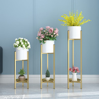 flower pot Nordic iron gold luxury living room indoor potted with green and metal flowers plant pot flower stand