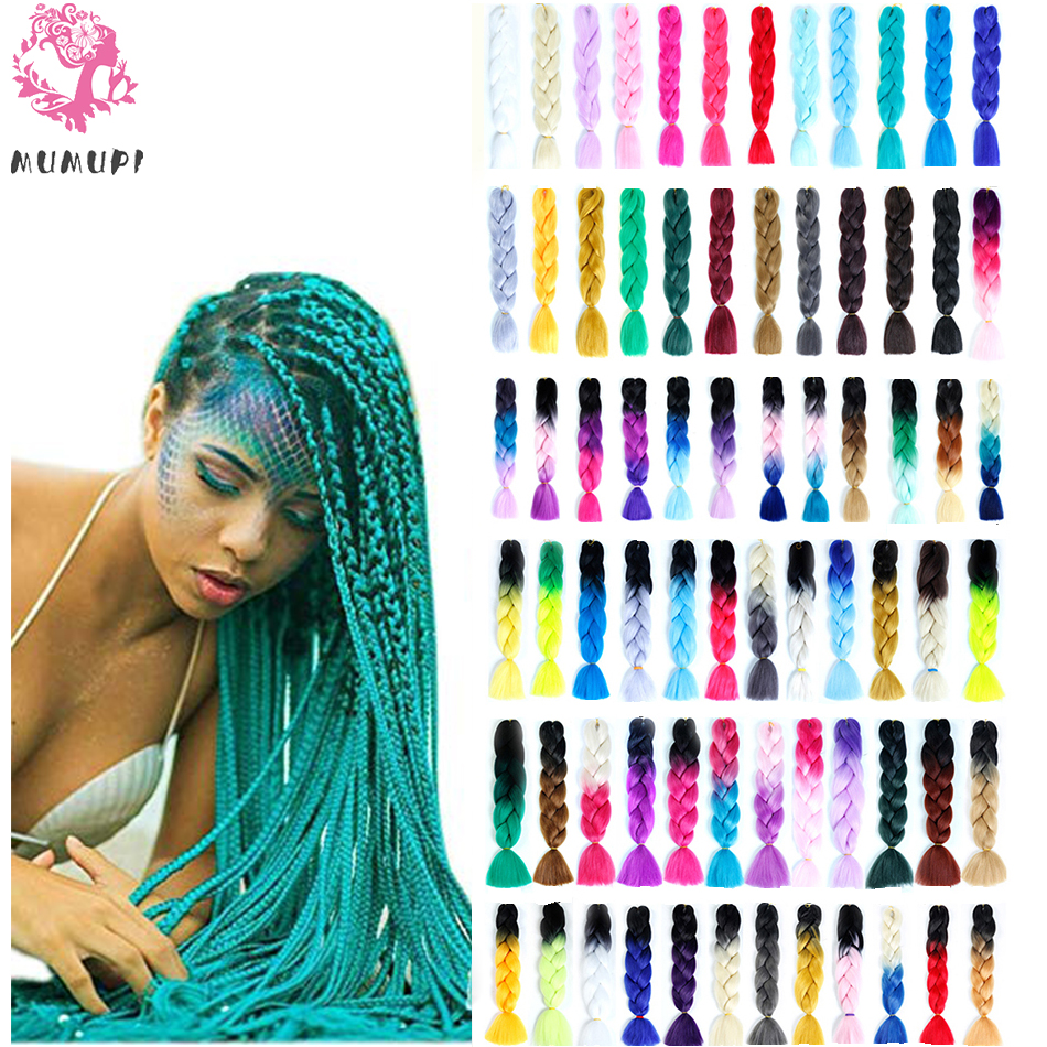 MUMUPI 24 Inch Long Crochet Braid Hair Xpressions Braiding Hair, 1Pcs/Lot Synthetic Hair Extensions For Women Headwear