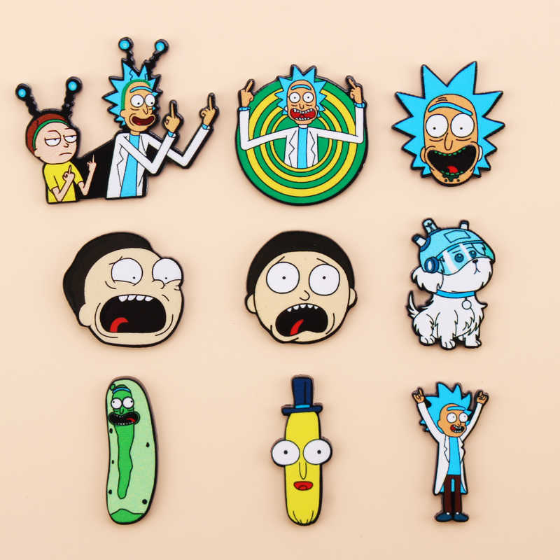 Iconos de dibujos animados estilo Rick y Morty pin Genius mad scientist insignia broche Anime amantes Denim camisa Lapel pins