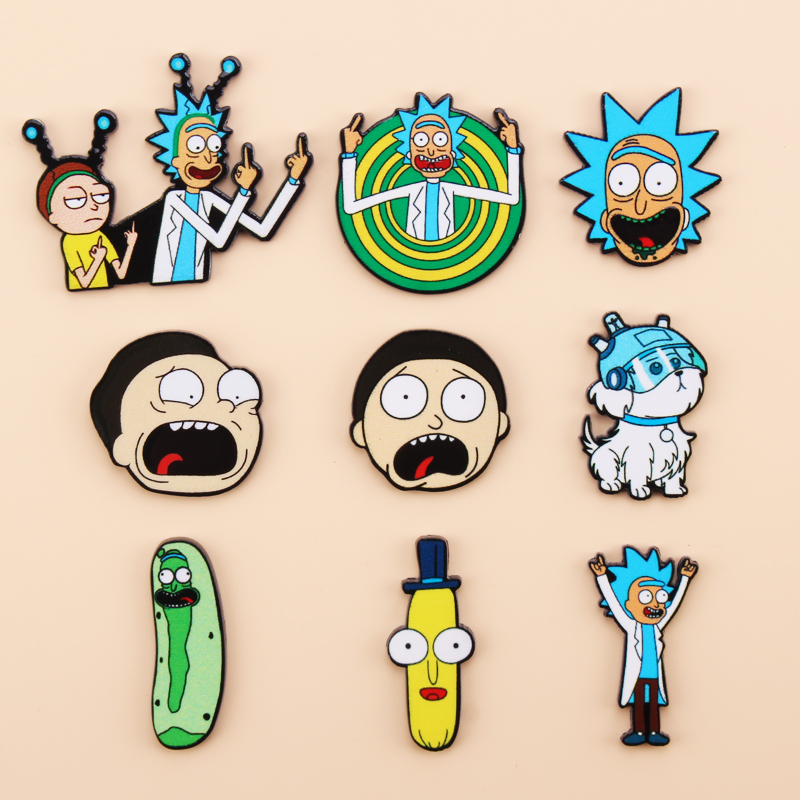 Cartoon Rick And Morty Pin Genius Mad Scientist Badge Buttons Brooch Anime Lovers Denim Shirt Lapel Pins