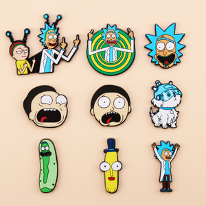 Cartoon icons Style Rick and Morty pin Genius mad scientist Badge Buttons Brooch Anime Lovers Denim Shirt Lapel pins(China)