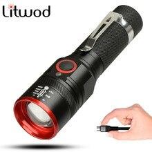 Litwod z20 1511 5200lm lanterna recarregável usb, XML-T6 led, com zoom, 4 modos, para 18650, com cabo usb, para acampamento