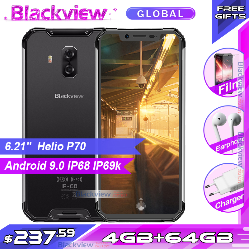 Blackview BV9600 téléphone portable robuste Helio P70 MT6771T Android 9.0 4GB 64GB 6.21