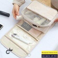Novo engrossar pendurar maquiagem saco organizador de viagem para cosméticos dobrável à prova dfoldable água compõem armazenamento caso gancho sacos de chuveiro