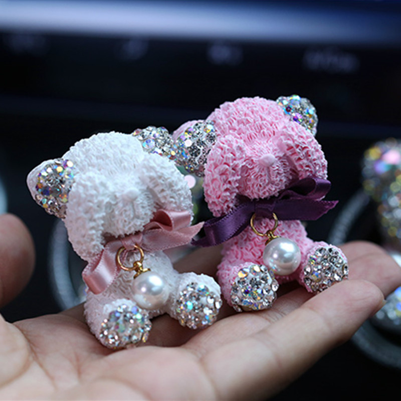 Bling Crystal Little Bear Car Perfumes Car Fragrance Diamond Cartoon Bear Car Vent Clip Diffuser Automobile Air Freshener