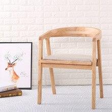 Nórdicos Silla de comedor de madera americano muebles vintage de hogar restaurante café, dormitorio, estudio casual simple con reposabrazos silla