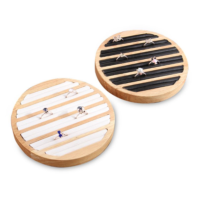 Bamboo Wooden Ring Display Tray Round 6 Long Slot Leather Insert Jewelry Storage T4MD