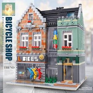 Image 2 - 15034 streetview建物のおもちゃとcompaitble 10004 mocバイクショップモデルビルディングブロック組立レンガキッズ子供のクリスマスプレゼント