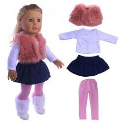4 teile/satz Vereinigten Staaten Mädchen Puppe Kleidung Set Winter Mantel Kleid + Legging Für 18 Zoll Puppe Anzug Set Fit 43cm Baby Puppen