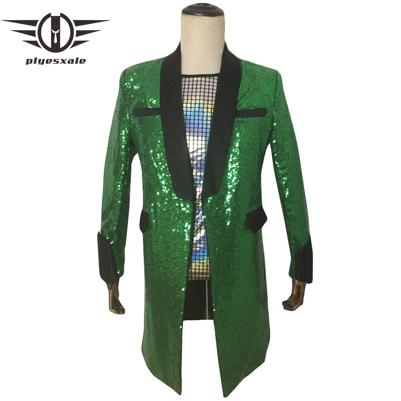 <font><b>Green</b></font> <font><b>Sequin</b></font> Blazer For <font><b>Men</b></font> 2019 Punk Style Plaid Blazer <font><b>Jacket</b></font> Elegant Wedding Grooms Blazers Tuxedo Long Prom Party Wear Q858 image