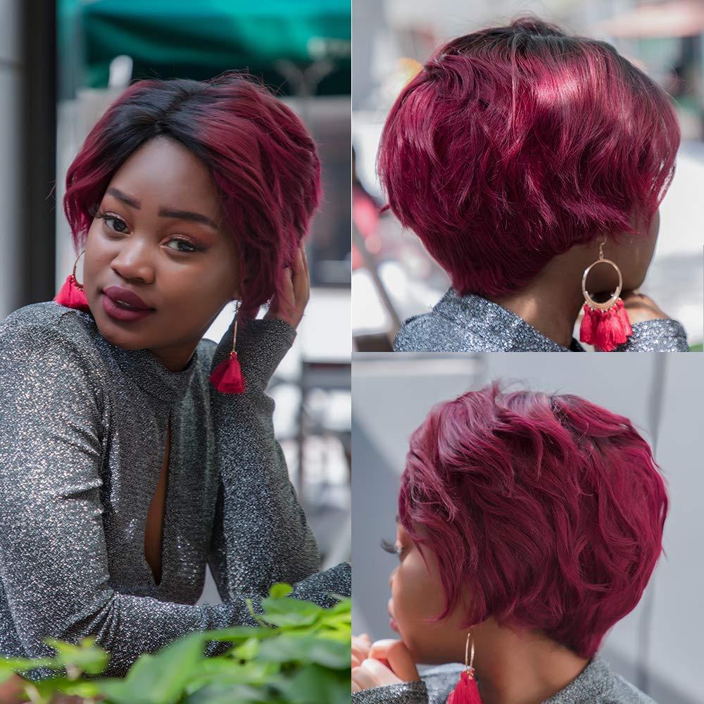 Cheap Human Hair Wigs Pixie Cut Ombre Burgundy Wavy Natural Hair Wigs Part Lace Wig Pre Pluck Bob Human Hair Wig Free Shipping