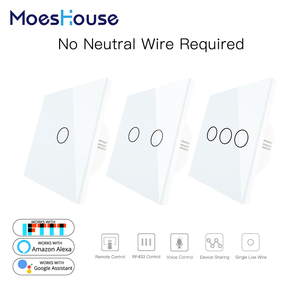 White WiFi Smart Wall Switch No Neutral Wire Needed Wireless Smart Life Tuya Remote Control Single Fire Work With Alexa RF433