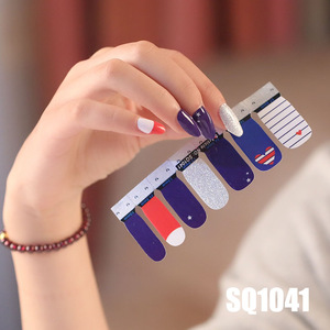 Image 5 - 14 טיפים/גיליון קוריאני גרסה ססגוניות מדבקות כורך מלא כיסוי לק מדבקת DIY דבק נייל אמנות קישוט