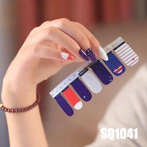Image 5 - 14tips/sheet Korean Version Multicolor  Stickers Nail Wraps Full Cover Nail Polish Sticker DIY Adhesive Nail Art Decoration
