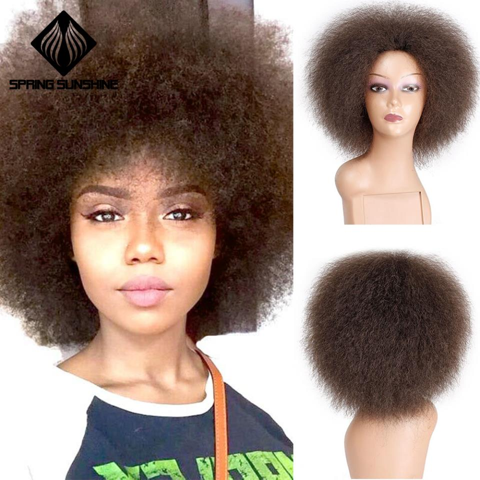 Spring sunshine 6 Inch Natural Black Brown Red Hair Synthetic Short Curly Afro Wig Fluffy Wigs for Women Black HairSynthetic None-Lace  Wigs   -