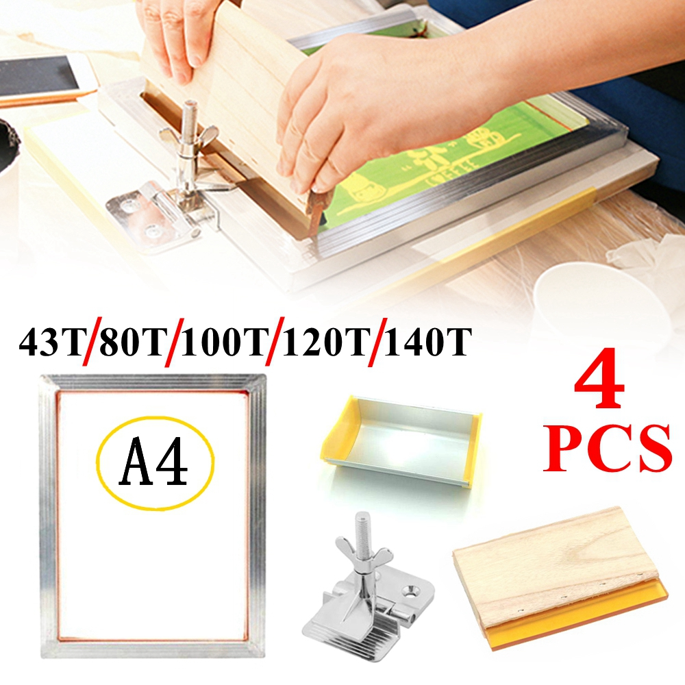 4PCS 43T/100T/120T/140T Silk Screen Printing Set Aluminum Frame + Hinge Clamp + Emulsion Scoop Coater + Squeegee Tool Parts Kits