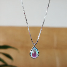 Moonstone Water Drop Pendant Necklace 925 Sterling Silver Clavicle Chain Necklace for Women Female Fine Jewelry