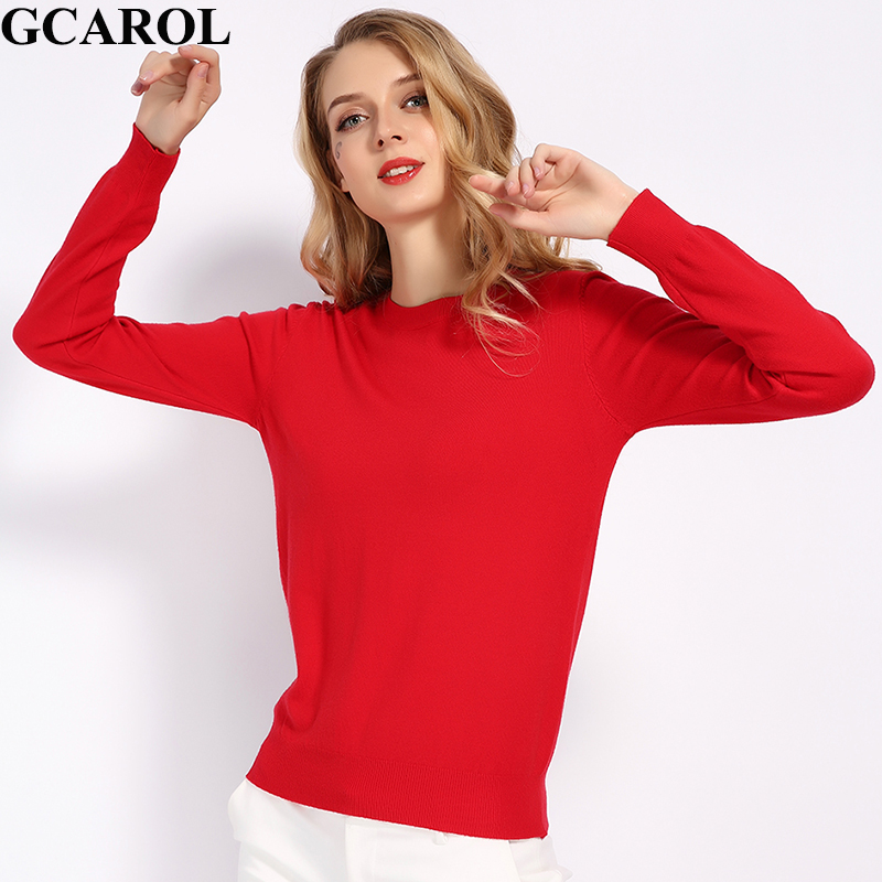 GCAROL New O Neck Women 30% Wool Sweater Candy Jumper Casual Stretch Fall Winter Basic Render Knit Pullover S-3XL