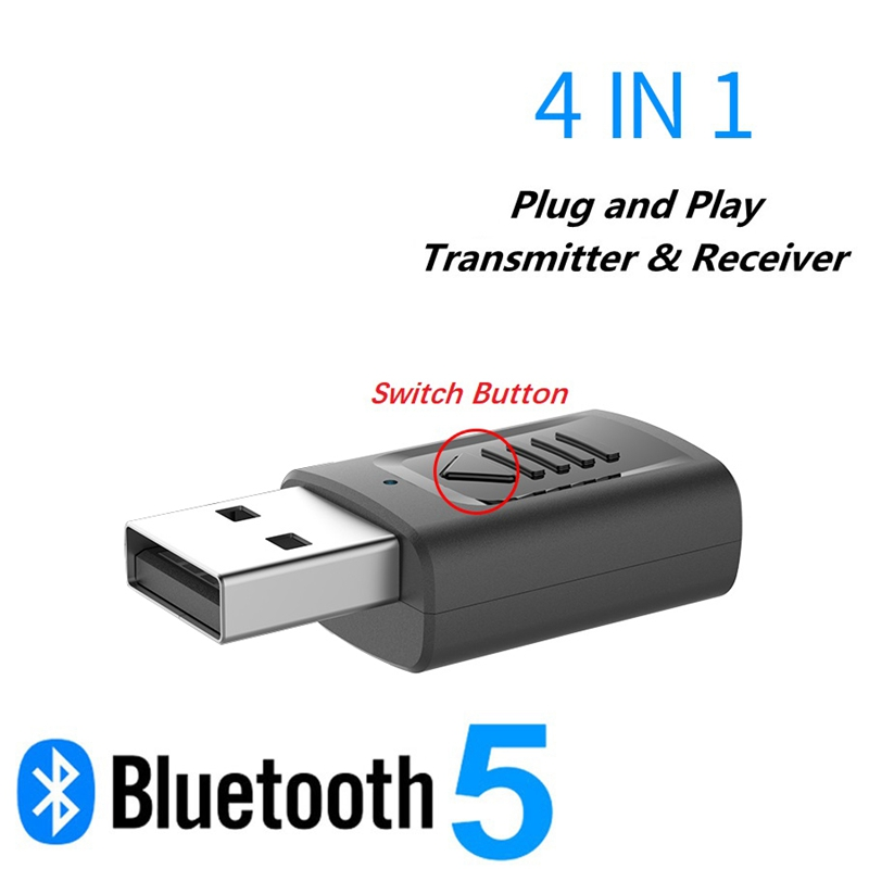 4-In-1 USB Bluetooth Transmitter Bluetooth Receiver 5.0 PC TV Audio Transmitter