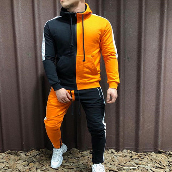 Free Shipping Men Sets Fashion Autumn winter Patchwork Sporting Suit Hoodies+Sweatpants Slim Tracksuit Set