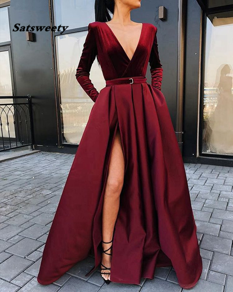 Burgundy Muslim Evening Dresses 2020 V-Neck Velour Satin Formal Dress With Pockets High Slit Elegant Long Sleeve Evening Gowns