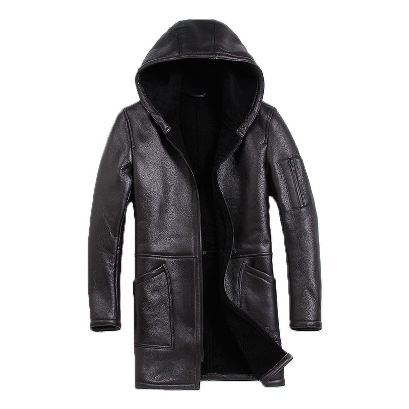 Leather Jacket Real Fur Coat Men Sheep Shearing Winter Coat Men Korean Hooded Wool Jacket For Mens Clothing 2020 S-N-3 YY966