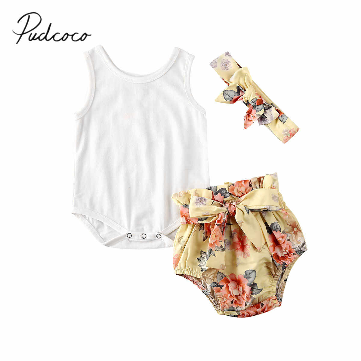 2020 Baby Summer Clothing Infant Baby Girl Sleeveless Romper Jumpsuit PP Floral Shorts Outfit Headband Clothes 3PCS