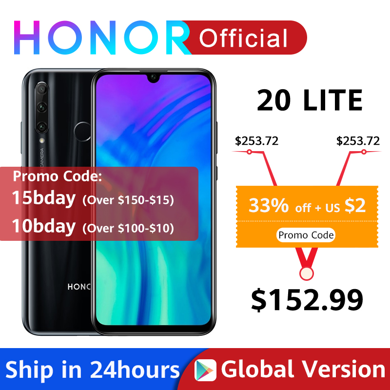 In Stock Global Version Honor 20 Lite 4GB 128GB Kirin 710 Octa Core Smartphone Front 32MP Face ID 24MP Rear Camera Google Play