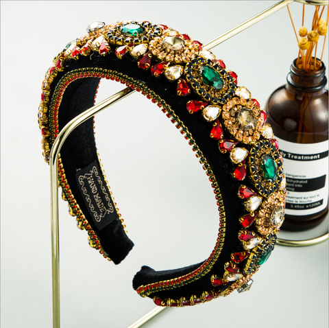 Moda de Luxo Barroco para Mulheres Nova Super Flash Strass Hairbands Estilo High-end Ouro Veludo Largo Lado Headbands Cor