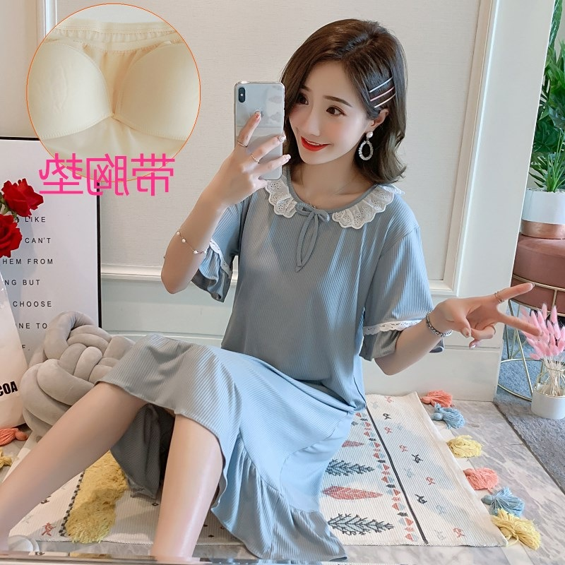 2020 With Chest Pad Nightgown WOMEN'S Short Sleeved Pajamas Hole-Bra Casual Loose And Plus-sized Women's Summer Home Wear