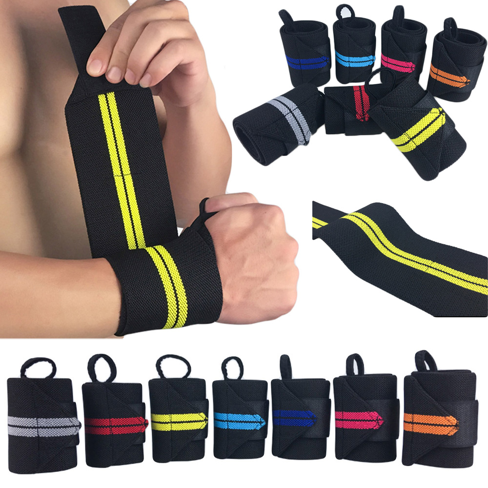 Sports Wrist Band Striped Basketball Yoga Gym Supports Wristband Breathable 1 PC