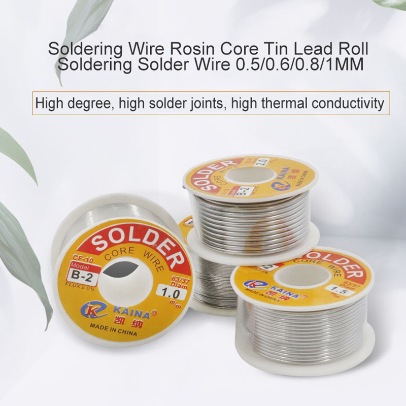 0.5/0.6/0.8/1.0mm 50/100g Welding Wire Roll FLUX 2.0% 45FT Tin Lead Tin Wire Melt Rosin Core Solder Soldering Wire Roll