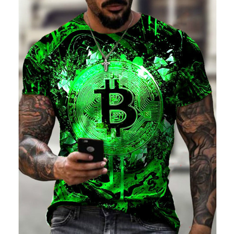 2021 Hot Loose Short Sleeve sports mens T-shirt big round neck bitcoin 3D printing leisure and breathable fitness men wear 4