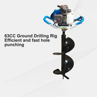 Professional 63cc 2200w Power Earth Auger Gas Power Post Hole Digger Ground Drilling Tool Earth Auger Ice Auger Digging