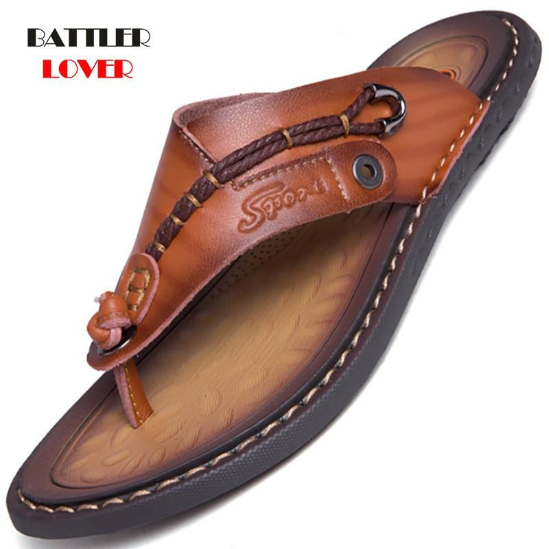 Genuine Cow Leather Shoes Men Sandals Mens Flip Flops Men