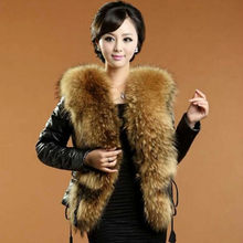 New fashion women's winter warm luxury faux raccoon fur collar patched PU leather long sleeve cotton-padded parka coat jacket(China)