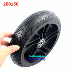 Image 1 - For Xiaomi Ninebot ES1 ES2 ES4 Electric Scooter rear wheel 200x50 Explosion Proof solid tyre 8 inch alloy wheel hub wheel tyre
