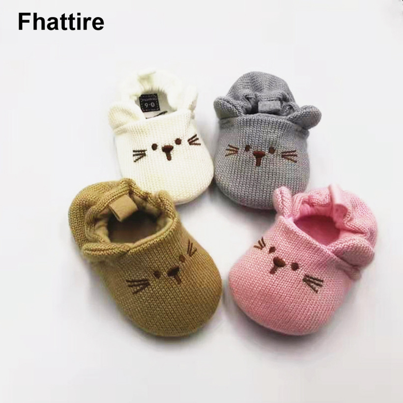 Cotton Baby Walkers Unisex New Baby Cotton Newborn Anti Slip Infant Baby Girls Boy Shoes With Rubber Soles Autumn Winter Babies