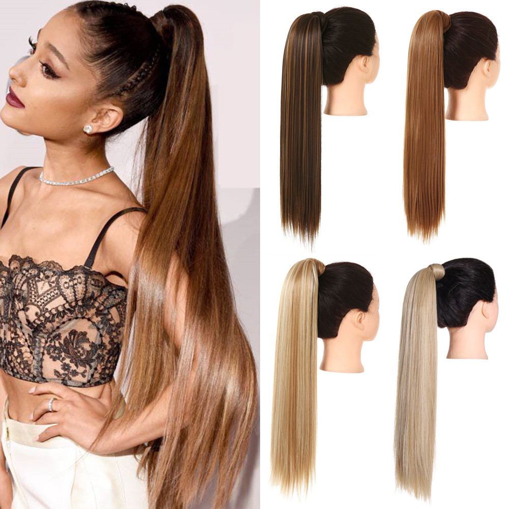 Synthetic Straight Long Natural Hair Ponytail Extension Wrap Around Clip in Hair Piece Curly Pony Tail For Woman Fake Hairpiece