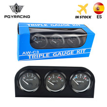 Kit Triple de 52mm medidor de temperatura de aceite + Indicador de temperatura de agua + medidor de presión de aceite con Sensor 3 en 1 medidor de coche PQY-TAG01/02/03