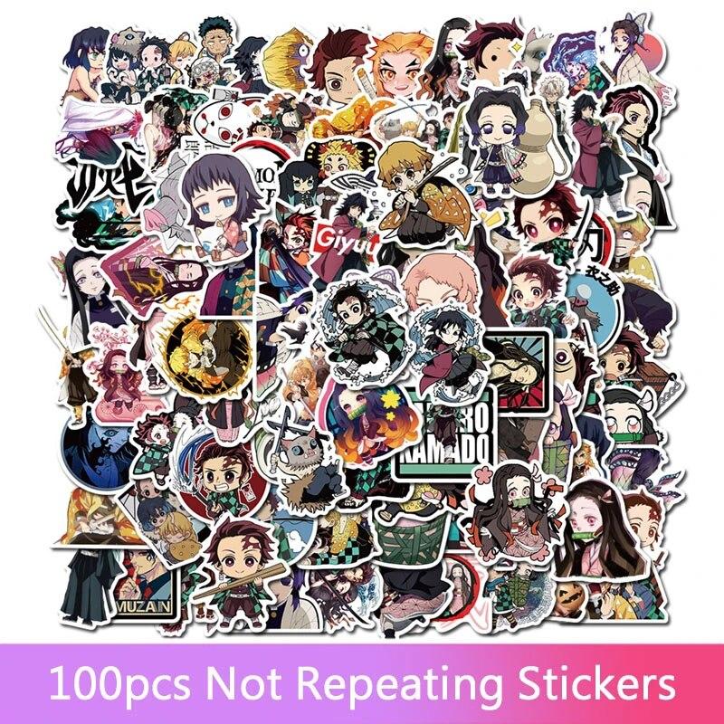 100pcs Anime Demon Slayer Kimetsu No Yaiba Sticker PVC Skateboard Luggage Decals