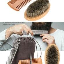 Modeling Beard-Brush-Set Scissor-Repair Double-Sided Comb for Men Wood Cleaning-Care-Kit