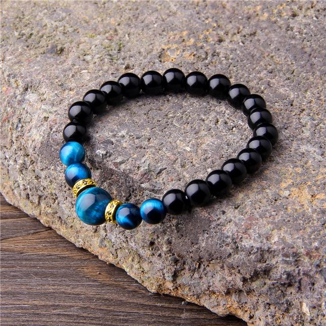 Natural Stone Bracelets Men Royal Blue Tiger Eye Bracelets Healthy Energy Bangle Fashion CZ Charm Black Onyx Beads Pulsera 5